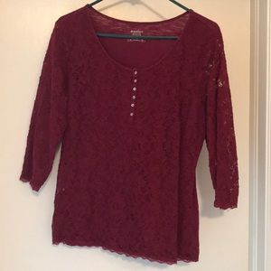 Lace and Cotton Burgundy 3/4 Shirt